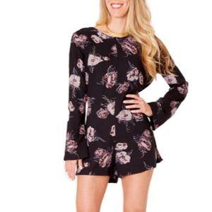 Cleobella Ellie Playsuit Black Floral Print Romper